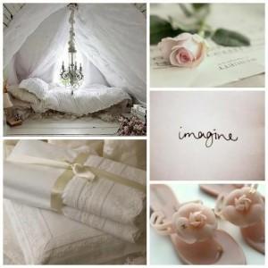 romantisch slaaphoekje, linnengoed, rozenslippers